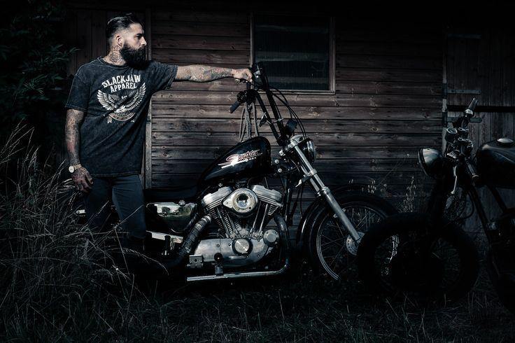 Harley Davidson Chopper Motorcycle Men Tattoos Tattoo Beards Beard Biker Photography hair barber guy male
