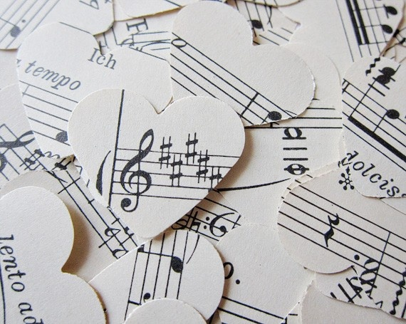Music note heart cut-outs