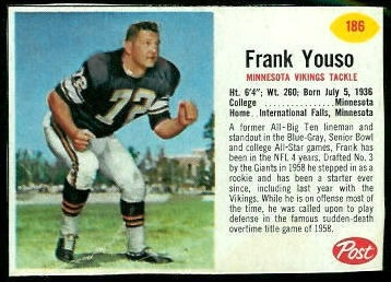 Frank Youso 1962 Post Cereal football card