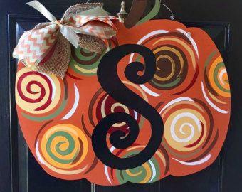 Fall Pumpkin door hanger fall door decor by Furnitureflipalabama