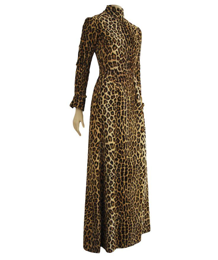 vintage animal print dress, long dress, vintage, leopard print long dress, vintage leopard dress by elhombreylaluna on Etsy