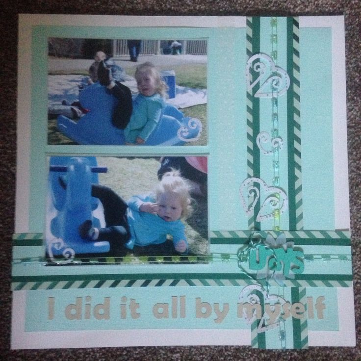 2 picture scrapbook layout... Blue tones  I did it all by myself