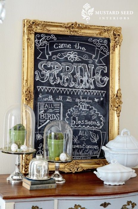 beautiful chalkboard with spring decor: Gold Frames, Spring Decor, Thrift Stores, Chalkboards Art, Chalk Boards, Miss Mustard Seeds, Chalkboards Writing, Chalkboards Ideas, Chalkboards Frames