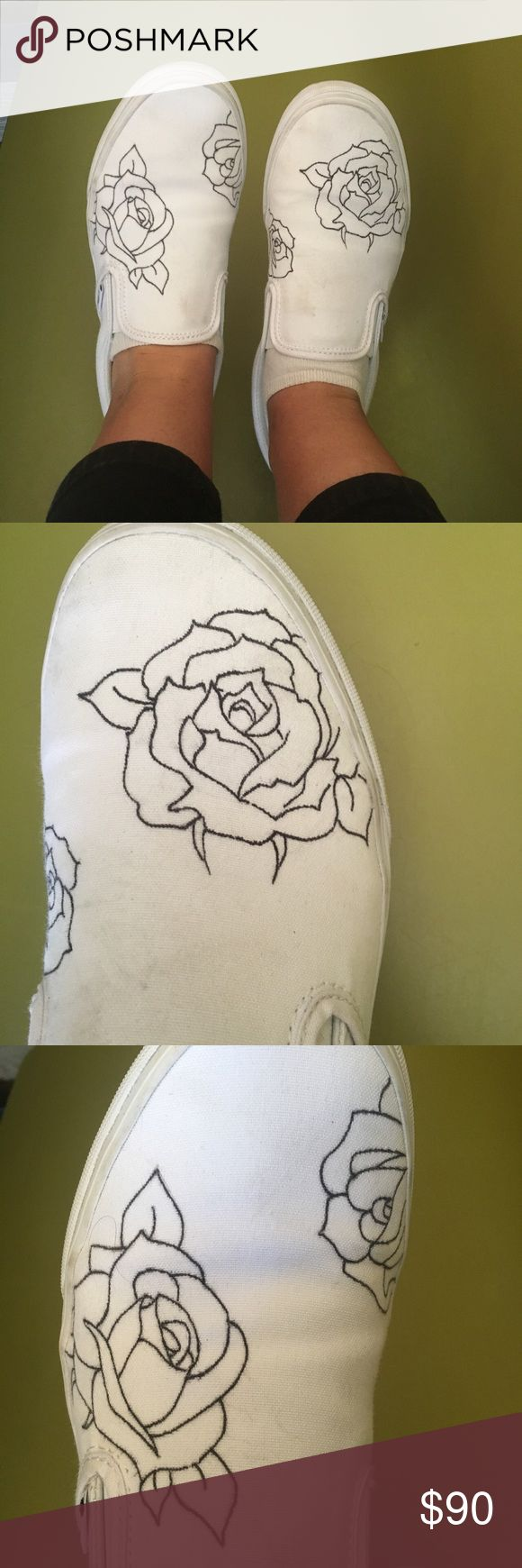 Custome Made White Rose Patterned Vans Im making custom made white vans with rose patterns! If you would like a pair please just send me your shoe size, also if you dont want rose patterns just send me a picture of the pattern that you would like. Vans Shoes Sneakers