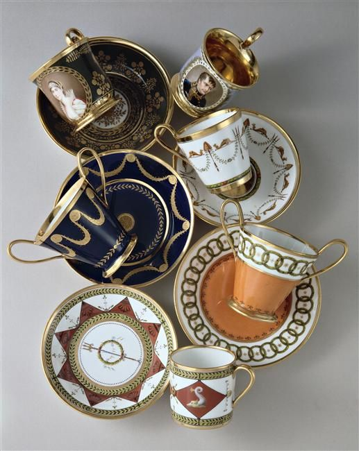 Sevres porcelain Cups and saucers for coffee and chocolate in the neoclassical style (late 18th century - early 19th)     (one of them has the portrait of Empress Josephine by Ms. Jacquot; and another the portrait of Bonaparte by Gerard after Isabey)    National Ceramics Museum in Sèvres