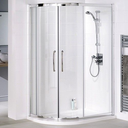 Offset quadrant shower enclosure in silver with low profile shower tray. Left handed. Size 900x800mm. Only £492 at Taps4Less.