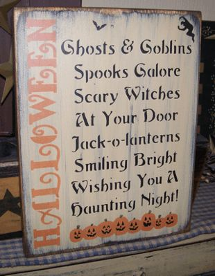 HALLOWEEN SAYING PRIMITIVE SIGN SIGNS