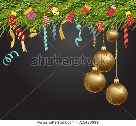 Merry christmas and happy new year 2018 wallpaper balls gold ...