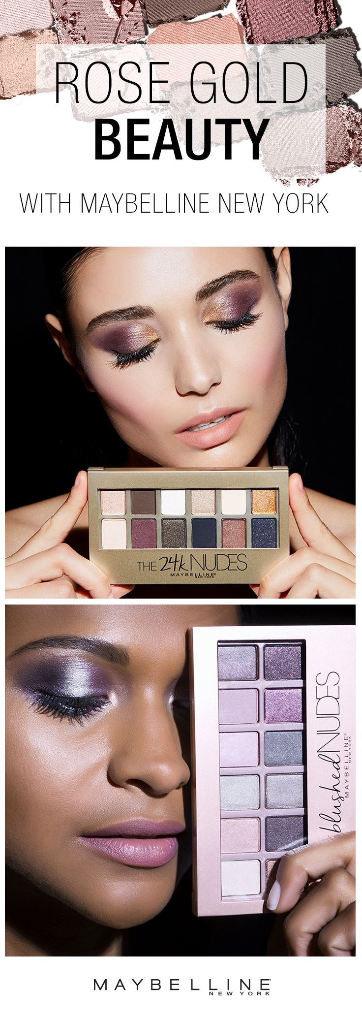 One of our favorite spring beauty trends is a rose gold eye makeup look.  Get the look using our 24K Nudes Eyshadow Palette or our Blushed Nudes Eyeshadow Palette.  Both feature shimmer and matte shades to create your perfect eyeshadow look in one convenient palette. Click through to shop our eyeshadow palettes!
