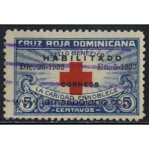 SELLOS DE DOMINICANA 1932 - CRUZ ROJA - 1 VALOR MATASELLADO - CORREO