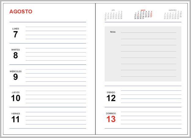 Plantilla Agenda 2017 Gratis para Imprimir