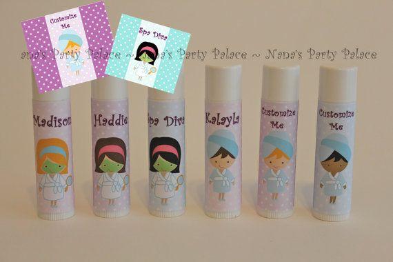 Spa Party Favors - Customized Lip Balm - Kids Lip Balm - Set of 6 - Free Customization - Lip Gloss Party Favor
