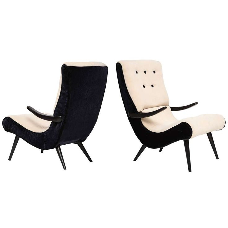 Pair of Sculptural Lounge Chairs with Black White Mohair Fabric, 1950s - 1stdibs.com