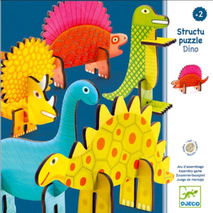 3 D #Puzzle #Dinosaurus #Wood 2Years by #Djeco from http://www.kidsdinge.com https://www.facebook.com/pages/kidsdingecom-Origineel-speelgoed-hebbedingen-voor-hippe-kids/160122710686387?sk=wall  http://instagram.com/kidsdinge