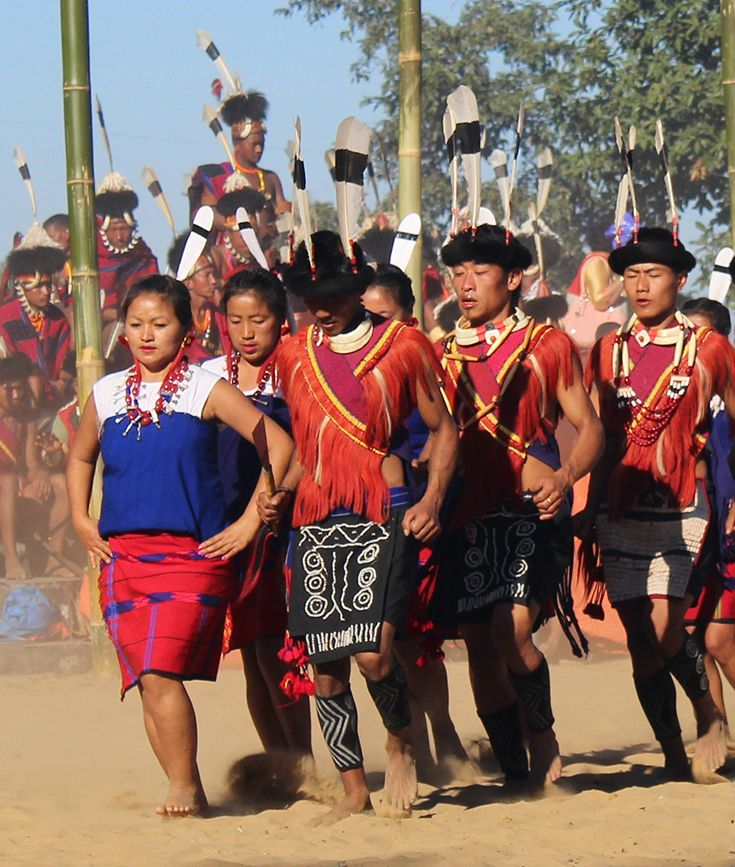 Dancers from the Ao tribe at the Hornbill Festival, Nagaland, North East India