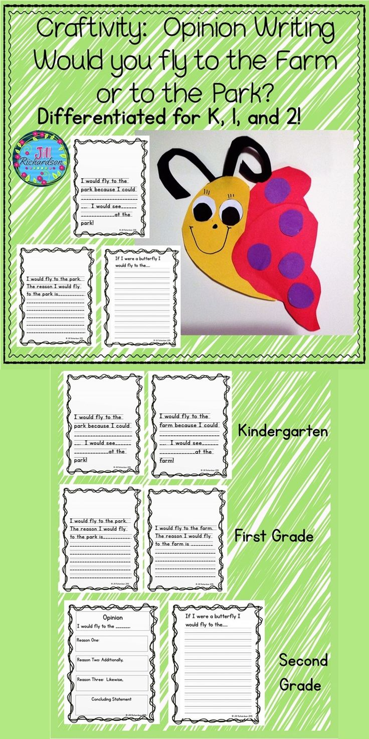 Make opinion writing fun this spring by incorporating this cute butterfly craft into your lesson plan!  TAKE A PREVIEW PEEK! If you were a butterfly, would you fly to a farm or to a park? Included are three different opinion writing forms: Kindergarten  First Grade Second Grade You may also use the different formats within each grade to meet the needs of all learners. Patterns are included to make the butterfly craft. Enjoy displaying your children's work in the classroom! Happy Spring!