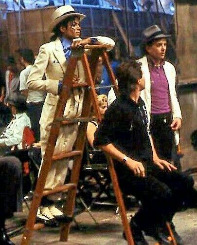Michael Jackson on the set of Smooth Criminal