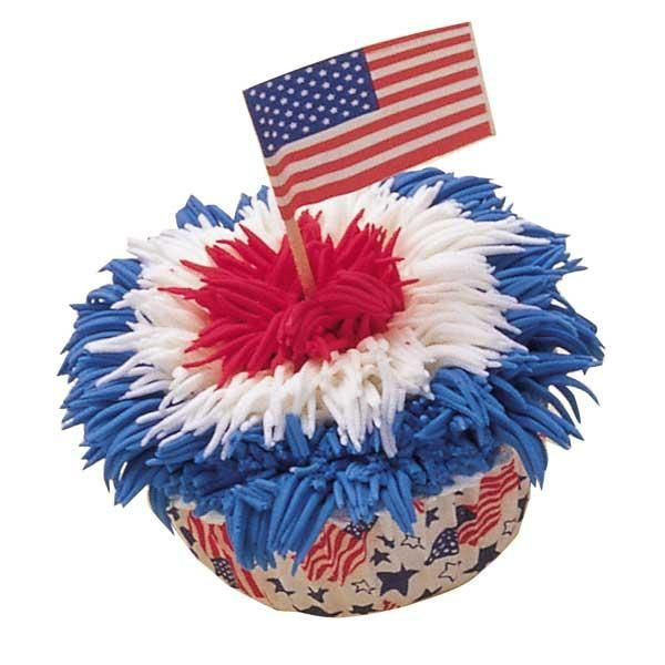 It's easy to add a patriotic touch to your Independence Day celebration with red, white and blue iced cupcakes. Creative piping makes a delicious fireworks display.
