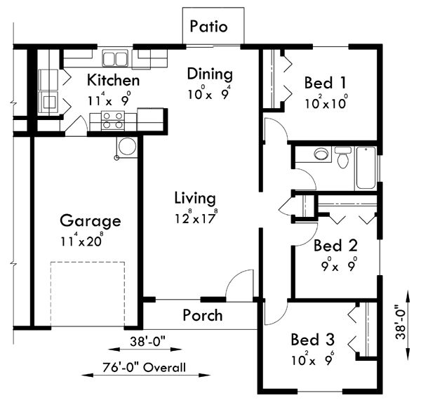 66 best images about duplex plans on pinterest for One bedroom house plans with photos