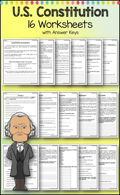 United States Government Constitution Worksheets Constitution State Government School Worksheets