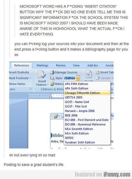 Microsoft Word Has A F_cking 'insert Citation'