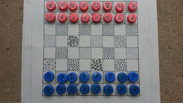 If you can't afford a chess set make your own. This is an inspirational story from Richards Bay  in South Africa. A TSMFL project sponsored by BHPB/SOUTH32 - an education intervention through chess. https://movesforlifeblog.files.wordpress.com/2015/01/eco2.jpg