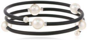 """Baggins White South Sea Pearl Memory Wire PVC Tubing Triple Wrapped Bangle Bracelet, 17"""""""