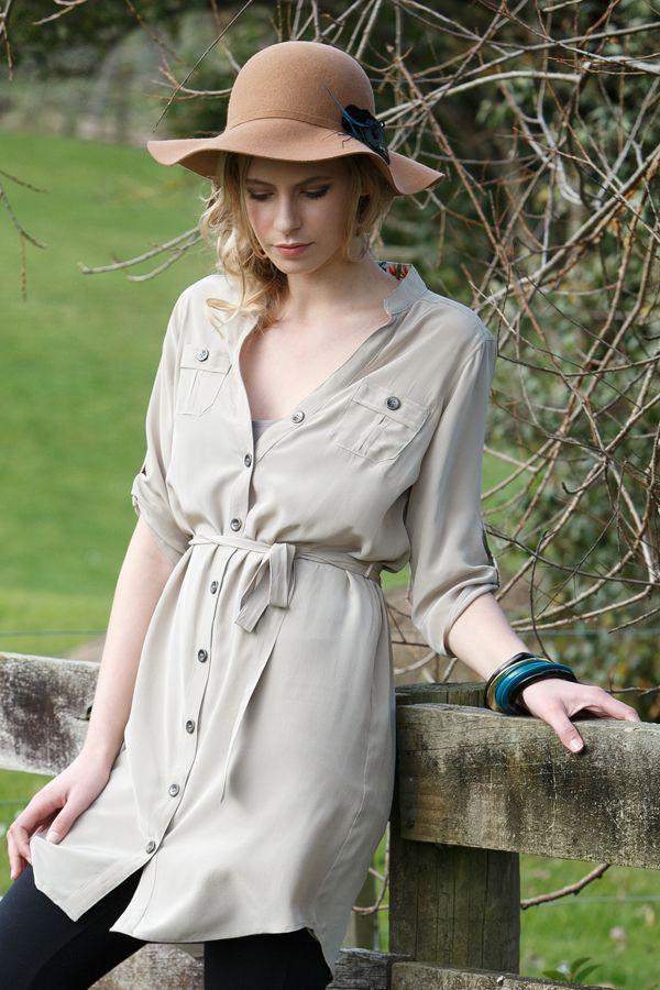 FLORENCE SHIRT DRESS Colour: Shell www.beau.co.nz