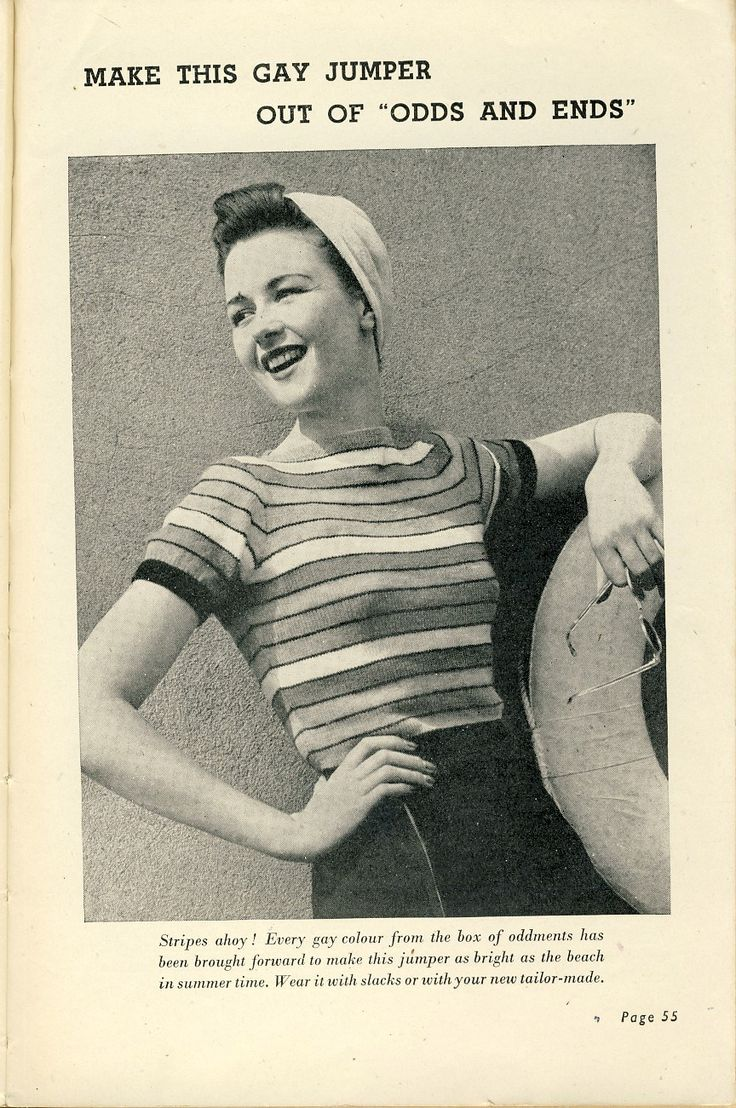 """""""Gay jumper from odds and ends"""", From """"Practical Knitting Illustrated"""" by Margaret Murray and Jane Koster. (A book that I own). This is just one of a wonderful collection of vintage 1940's knitting patterns. Published by Odhams Press, London circa 1945."""