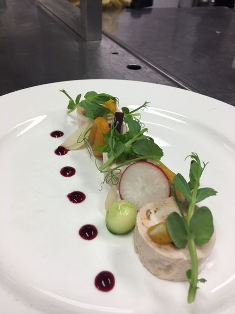 Farmhouse chicken galantine with glazed apricots and soused baby onions - just one of the creative starters available at The Lowry Hotel