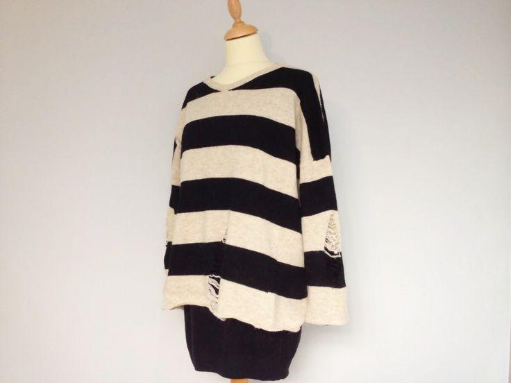 Ropa : Jersey de rayas blancas y negras Talla única