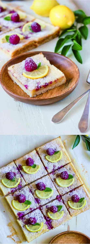 RASPBERRY LEMON BARS - cake, cookie, dessert, lemon, raspberry, recipes
