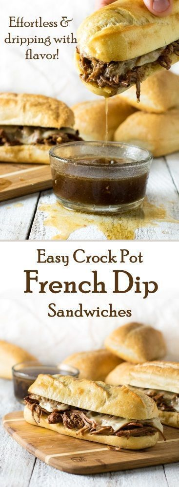 Easy Crock Pot French Dip Sandwiches recipe via @Fox Valley Foodie