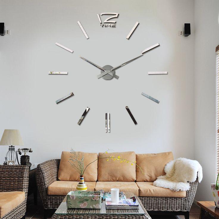 3D Diy Modern Wall Clock Mirror Surface Sticker Watches Home Decor Art Design