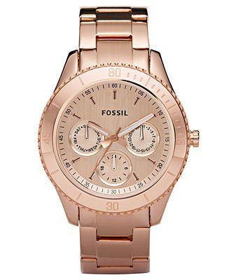 Fossil Watch, Women's Stella Rose Gold-Tone Stainless Steel Bracelet 37mm ES2859 - - Macy's