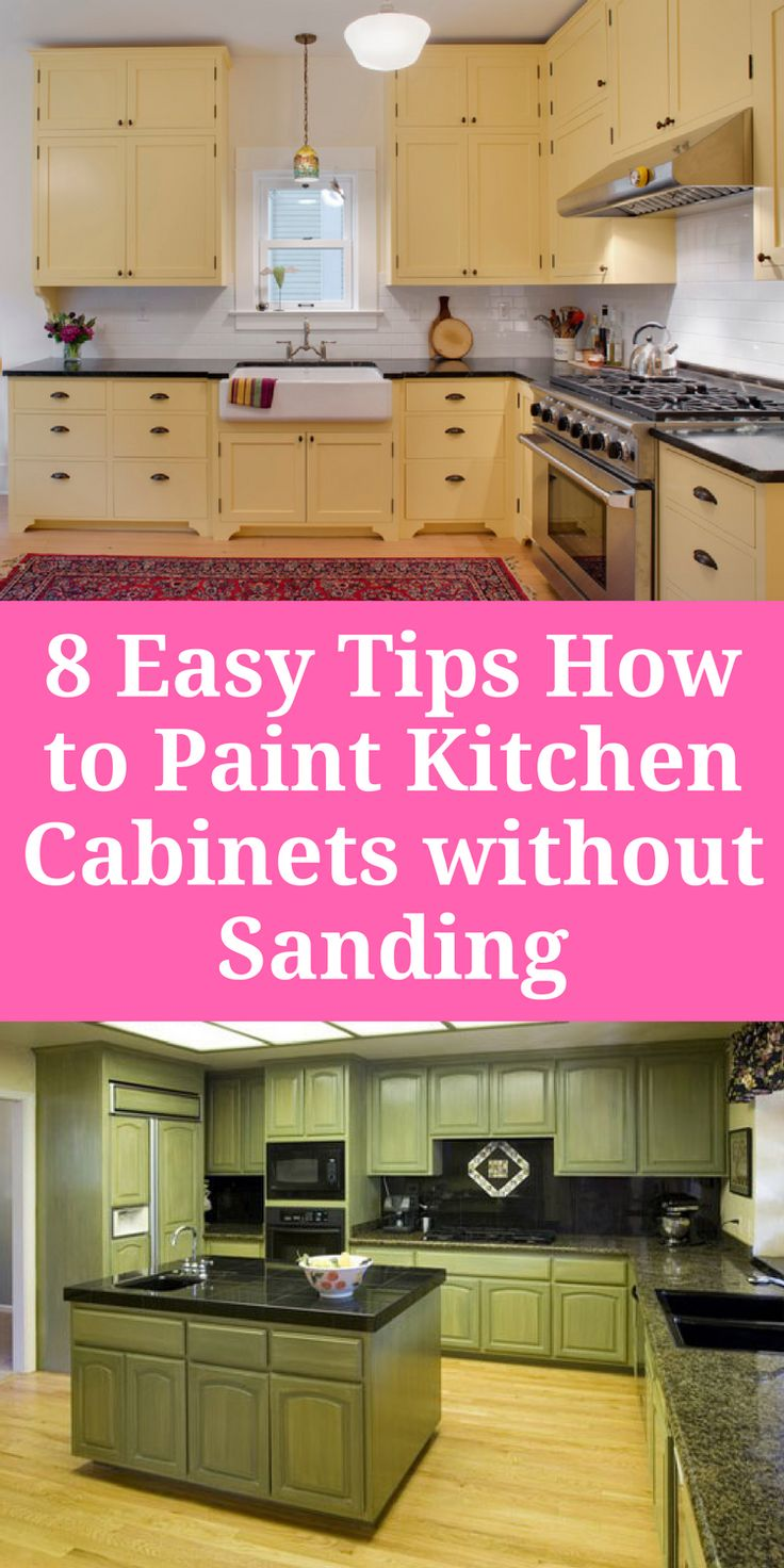 8 Easy Tips How to Paint Kitchen Cabinets without Sanding #Kitchencabinetpaintcolor