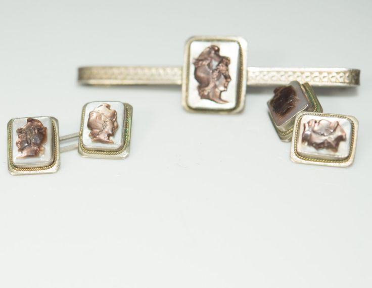 German 835 Carved Cameo Tie Clip and Cufflinks on mother of pearl background  Vintage  1930-40s Nouveau Style by justbecauseshecan on Etsy