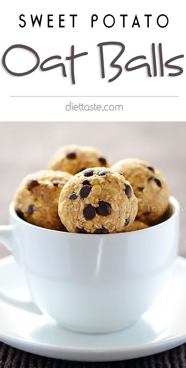 Sweet Potato Oat Balls - delicious no bake protein bites with chocolate chips; boost your energy after work-out and give your kinds a healthy afternoon snack; prepared in 5 min - diettaste.com