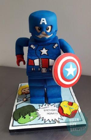 Lego Captain America Avengers Cake