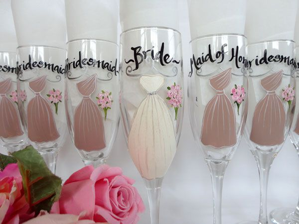 sam designs hand painted wine glasses for bridesmaids