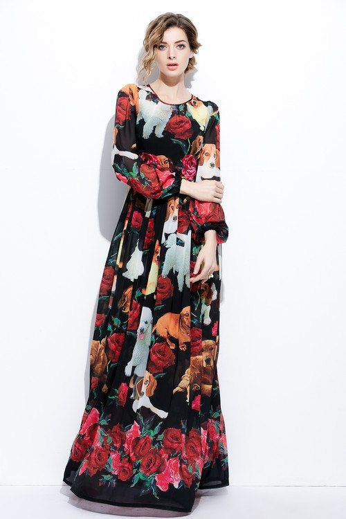5892a73a5016 XXXXL Fashion Plus Size Long Maxi Dress 2017 Summer Women Cute Dog Rose  Floral Print Long Sleeve Maxi Dress Extra Large Clothing