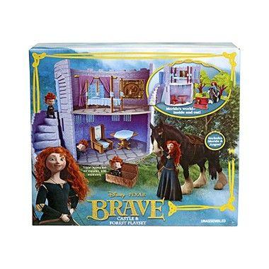 Disney Brave speelset kasteel  Beleef nu zelf alle avonturen van Disney prinses Merida met deze prachtige Brave speelset! Merida is een dappere prinses die bovendien heel goed is in boogschieten. Ze woont in dit mooie kasteel samen met haar familie.  EUR 26.99  Meer informatie