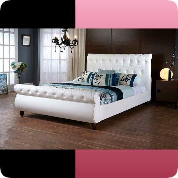 878 $ Ashenhurst Modern Contemporary Sleigh Bed Upholstered Headboard Full Queen #ModernContemporary