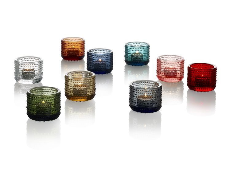 """Kastehelmi Votives  (Iittala) The Finnish word """"kastehelmi"""" means """"dewdrop,"""" which refers to the rings of small glass beads that give each piece in the Iittala Kastehelmi collection its distinct character. Originally designed by Oiva Toikka in 1964. The idea of using droplets of glass as decoration came to Oiva Toikka when he was thinking of ways to hide the joint marks left by the production process."""