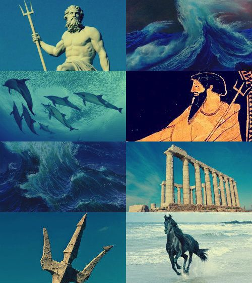 Poseidon (Ποσειδῶν,) is the god of the sea and protector of all aquatic features. In addition he's the Lord of horses and earthquakes. Known as the Earthshaker, he's famous for his moods. Brother of Zeus and Hades, after the overthrow of their father, Cronus, he drew lots with them to share the universe. He ended up becoming lord of the sea. He was widely worshipped by seamen. He married Amphitrite, one of the granddaughters of the Titan Oceanus. He is rivals with the goddess of wisdom…