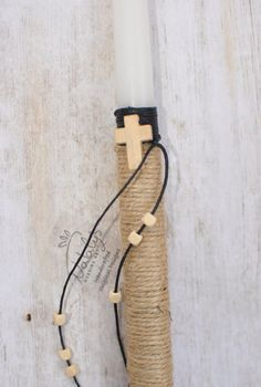 Greek Easter candle Easter lambada Anastasi lambatha  with Wooden Cross Orthodox candle by NatalysWeddingArt