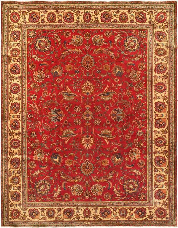 Hand knotted tabriz cream red wool rug cream rugs and wool for Cream and red rugs