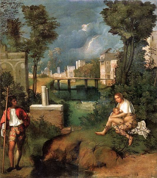 Giorgione; The Tempest is one of those rare works which are 100% sure his (since loads of them seem to haven been finished by other painters, e.g. Titiaan)