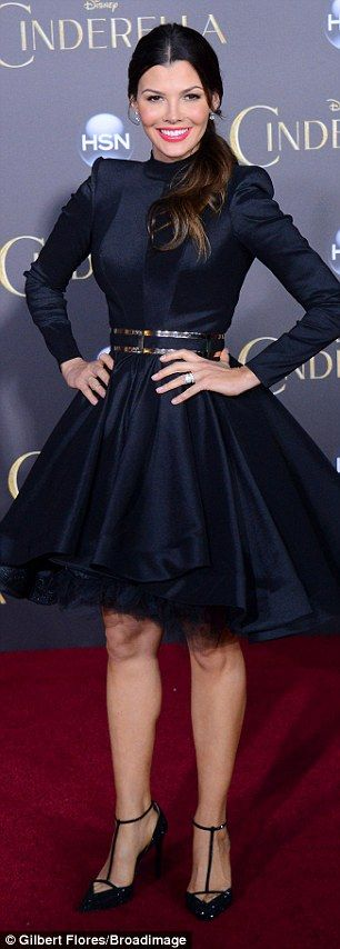 Majestic: The 41-year-old former pageant queen showed off her toned legs in a stately navy...