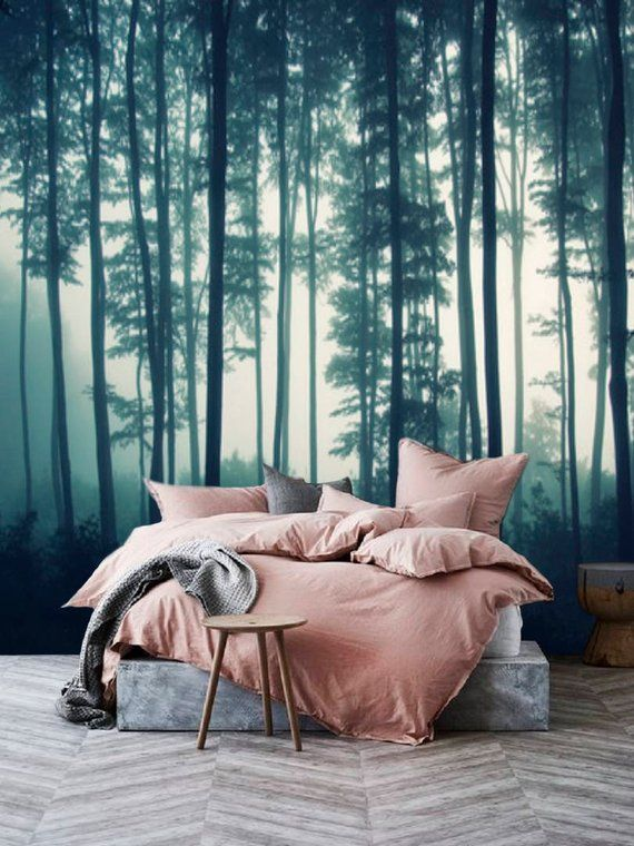 Misty Forest Wall Mural Removable Wallpaper Mural Forest Etsy Forest Wall Mural Forest Wallpaper Forest Mural